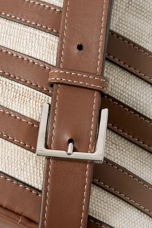 Hunting Season Leather-trimmed raffia bucket bag