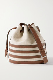 Hunting Season Leather-trimmed raffia bucket bag