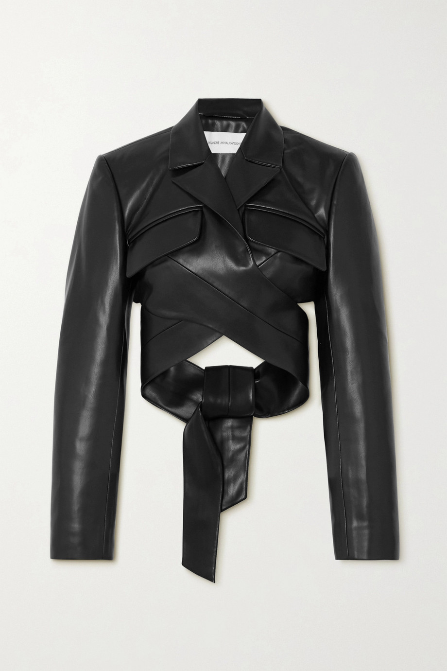 Aleksandre Akhalkatsishvili Cropped faux leather wrap jacket