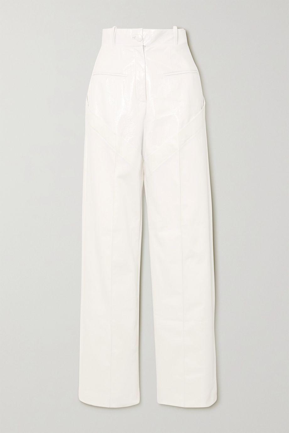 Aleksandre Akhalkatsishvili Paneled crinkled-vinyl and cotton-twill wide-leg pants