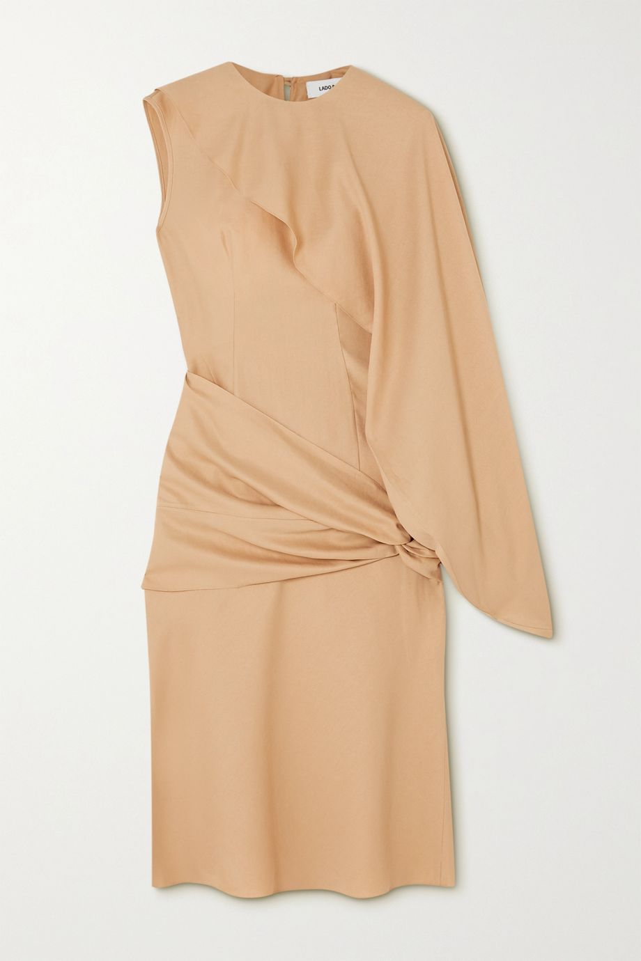 Lado Bokuchava One-sleeve belted draped twill midi dress