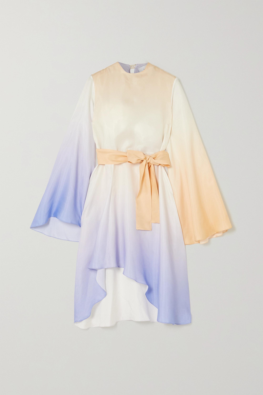 Asymmetrisches Kleid aus Crêpe mit Farbverlauf und Bindegürtel