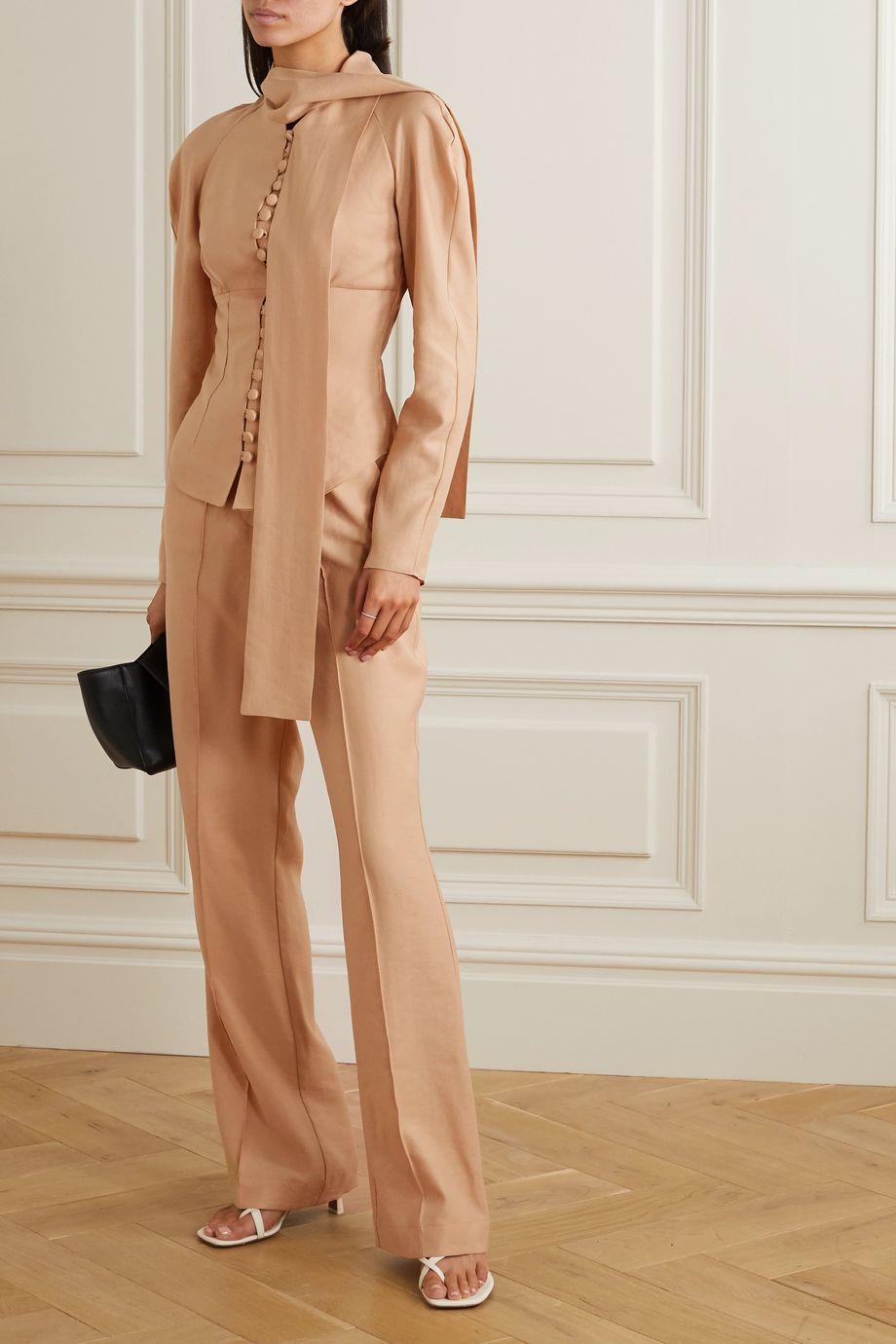 Lado Bokuchava Pantalon large tissé à plis nervures