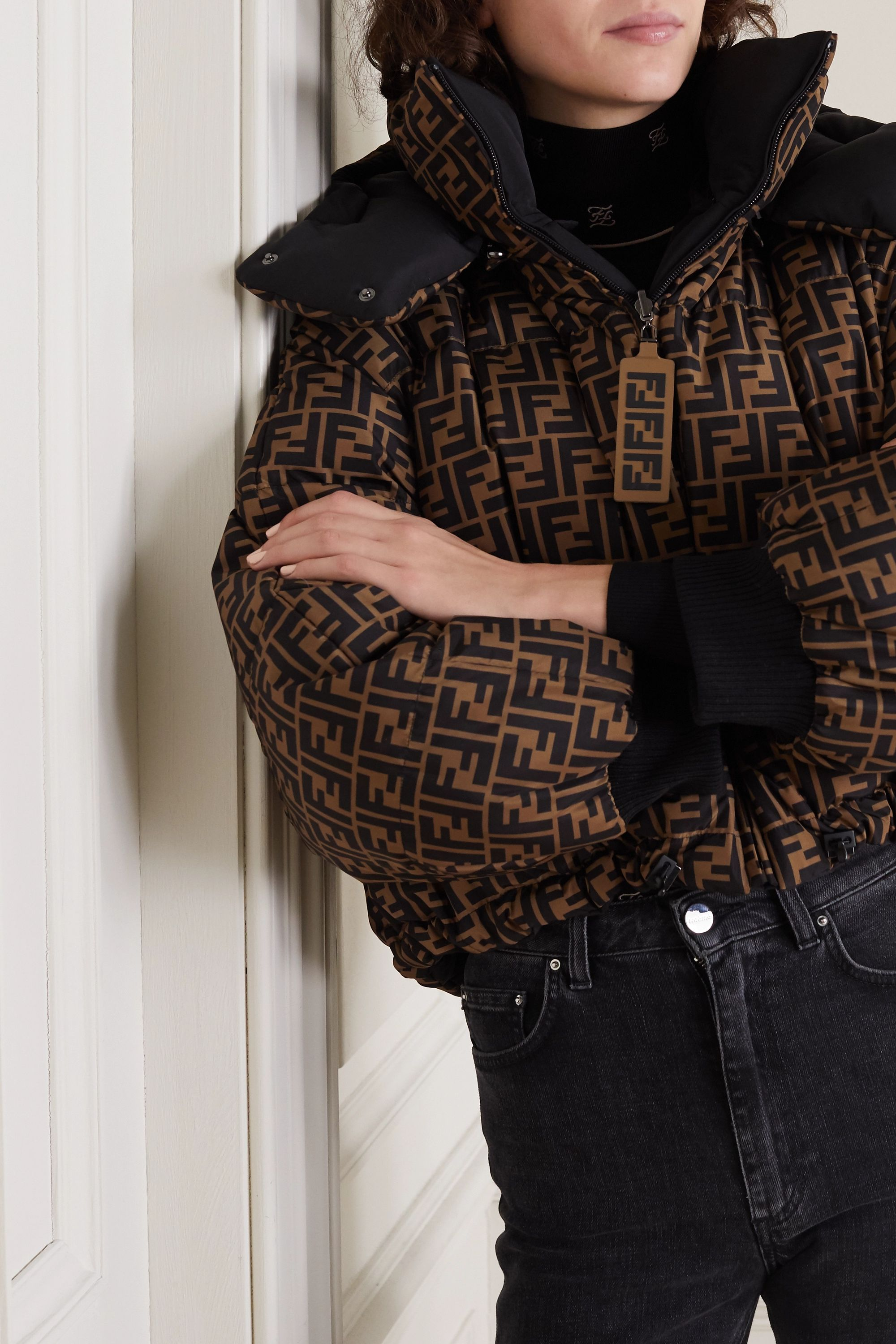 Fendi Reversible printed quilted shell down bomber jacket