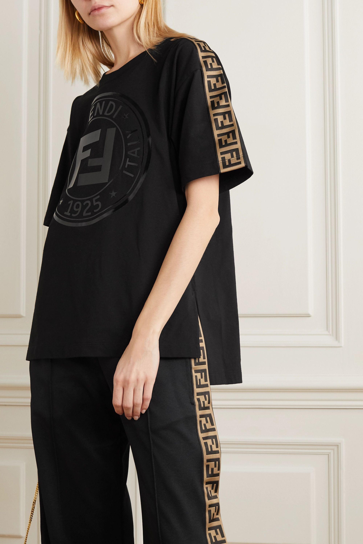 Fendi T-shirt en jersey de coton et en jacquard imprimé Rama