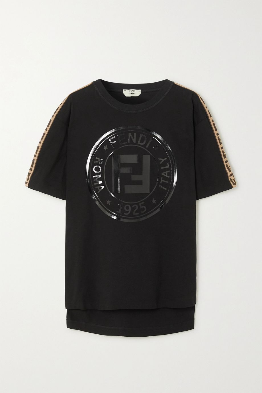 Fendi Rama printed jacquard-trimmed cotton-jersey T-shirt