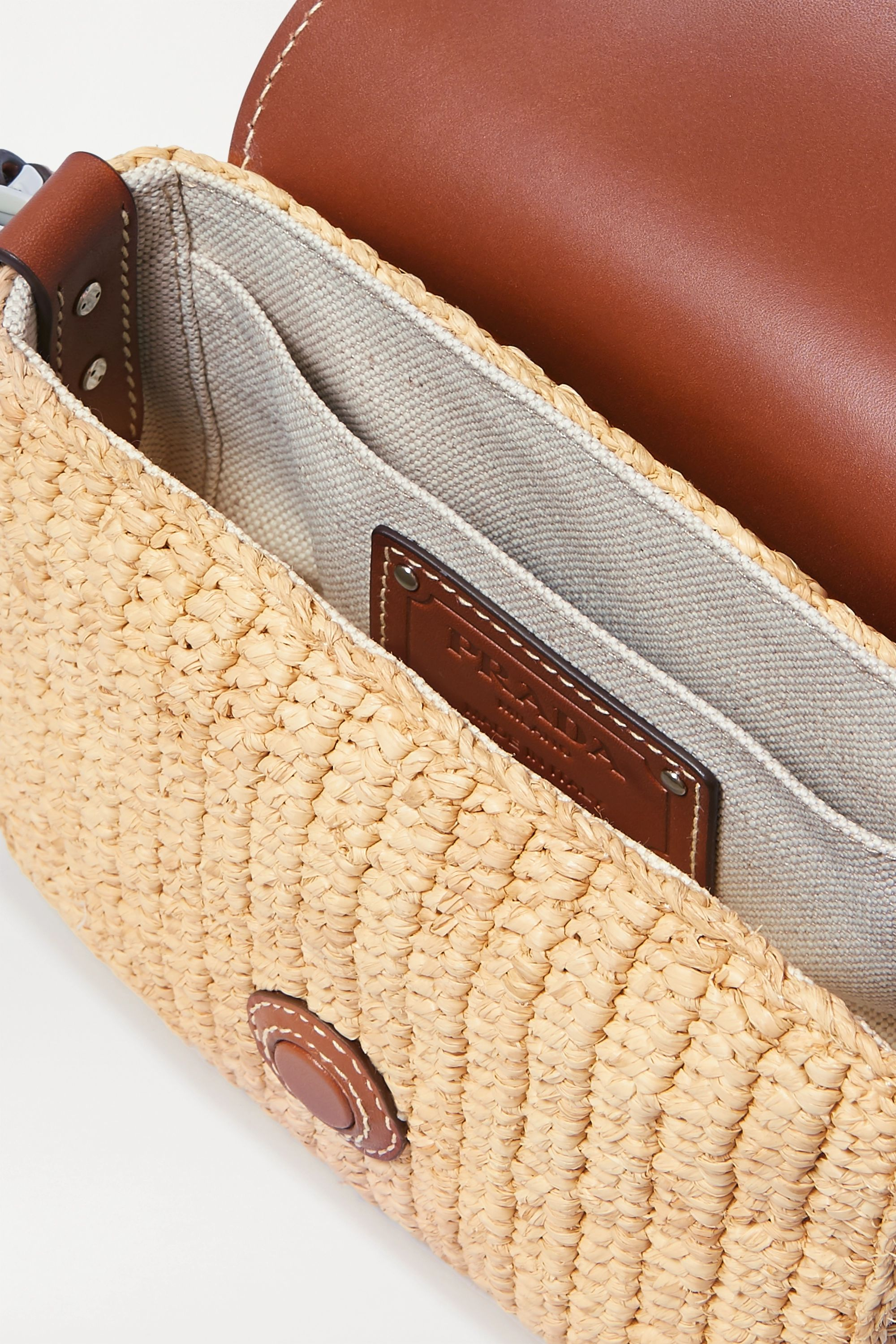 Prada Flap raffia and leather shoulder bag