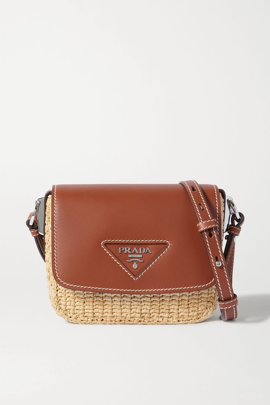 Prada Flap raffia and leather shoulder bag