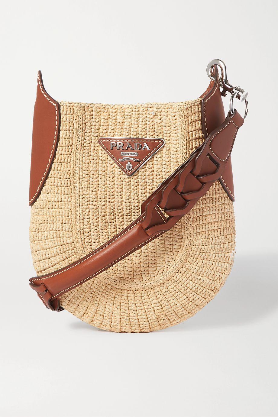 Prada Saddle leather-trimmed raffia shoulder bag