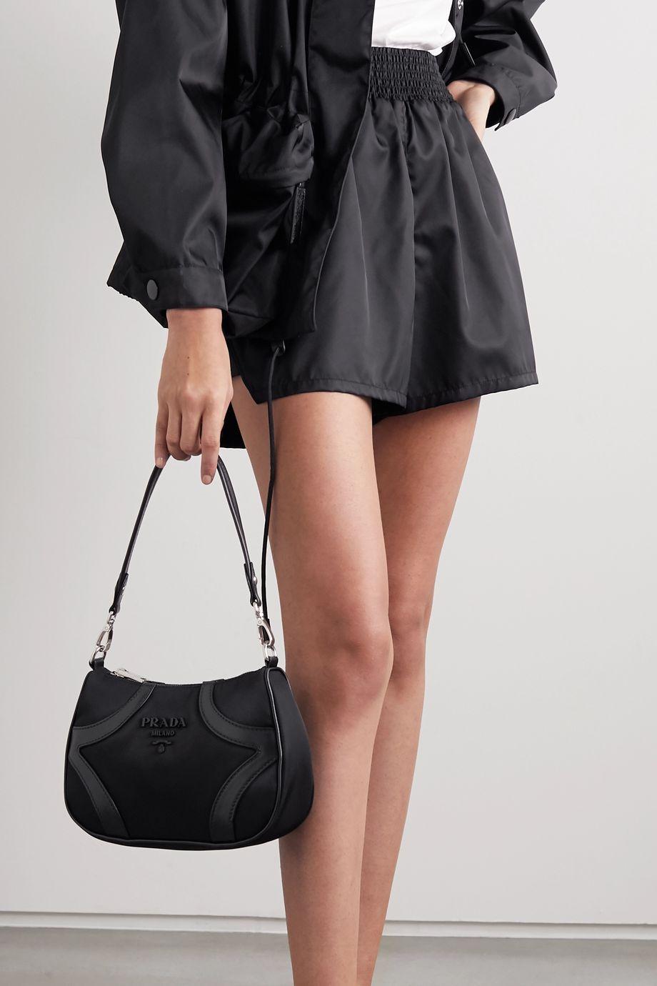 Prada Leather-trimmed nylon shoulder bag