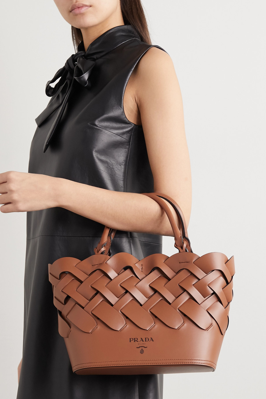 Prada Medium woven leather tote