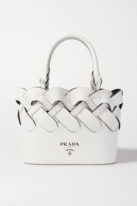 White Small woven leather tote   Prada lXTPTG