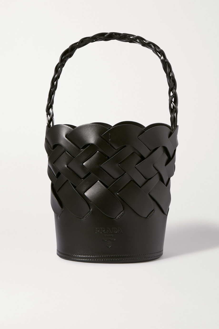Prada Small woven leather bucket bag