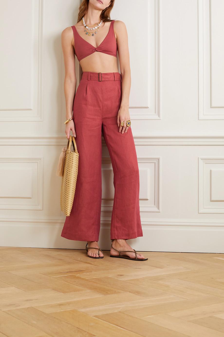 BONDI BORN Belted linen wide-leg pants