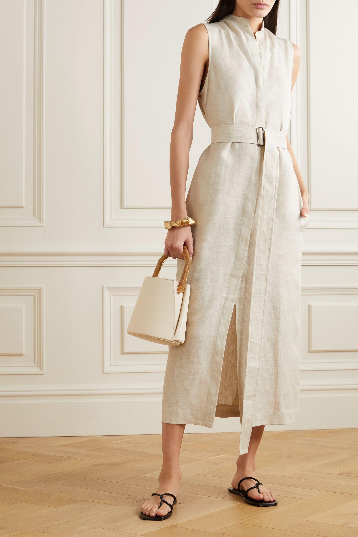 BONDI BORN Belted linen midi dress