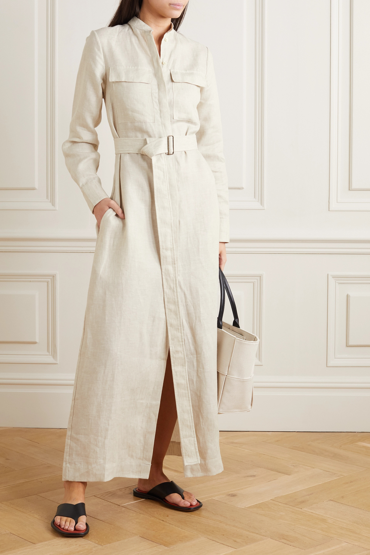 BONDI BORN Belted linen maxi dress