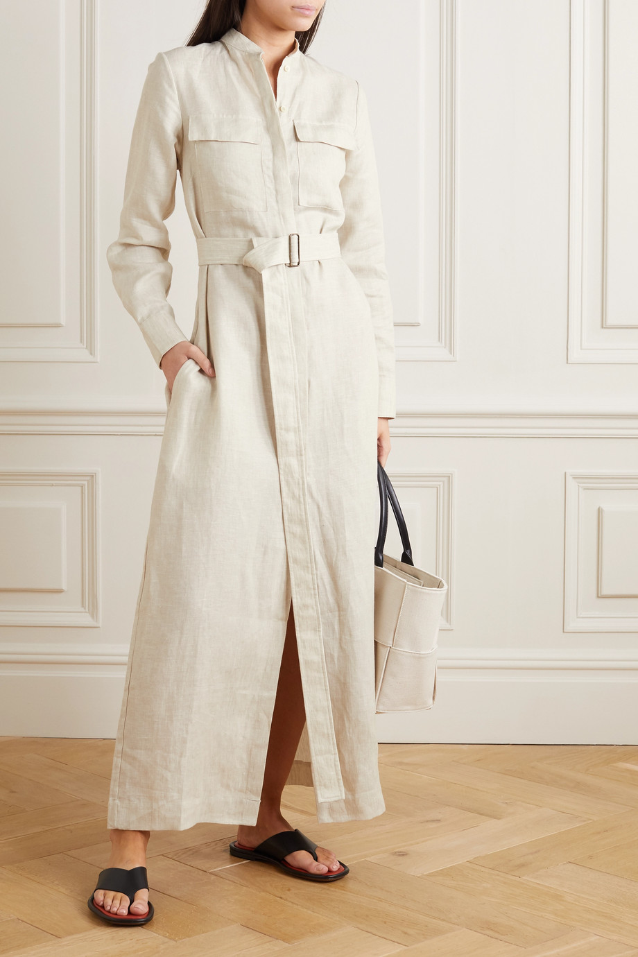 BONDI BORN Belted linen maxi dress