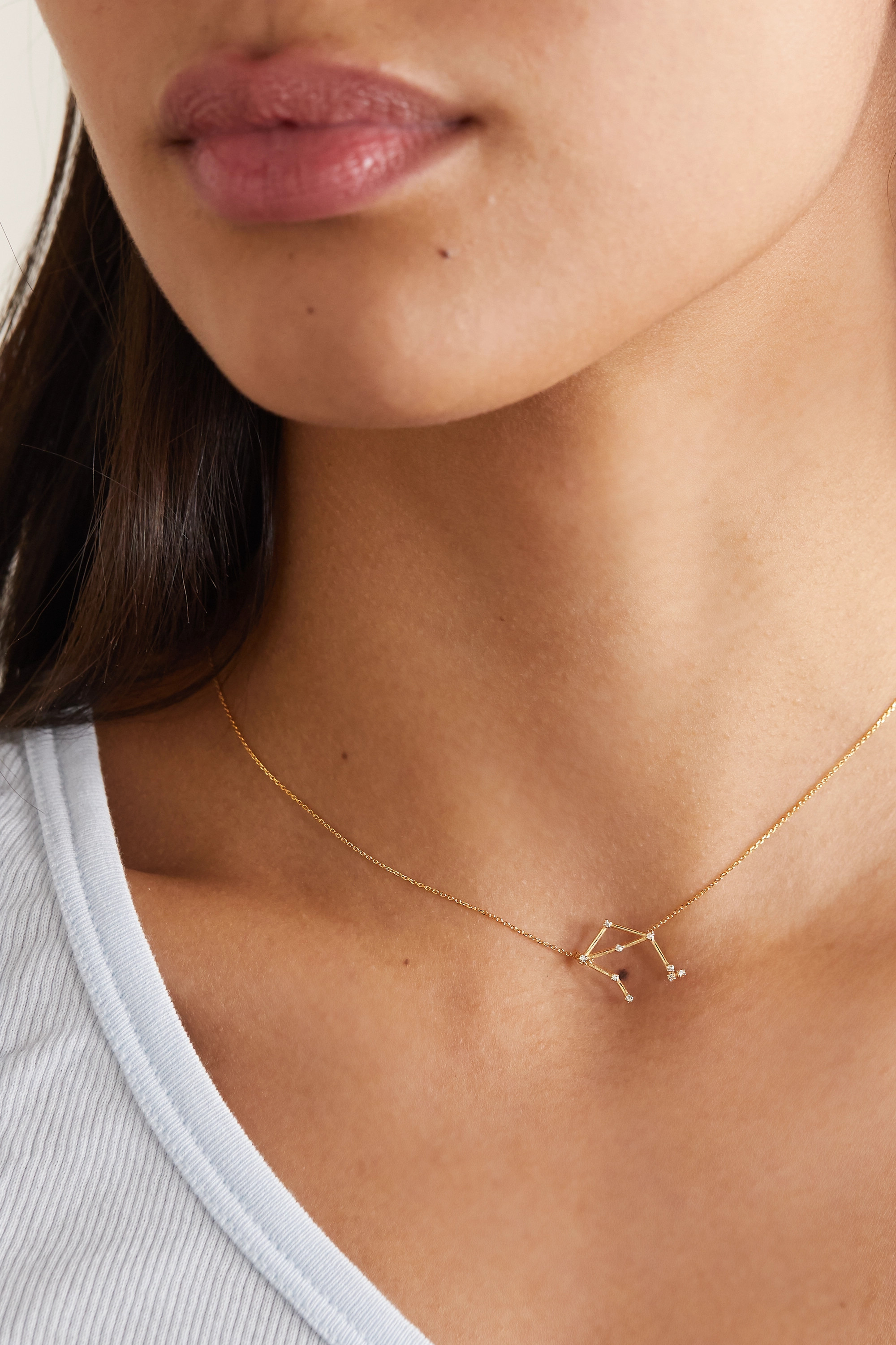 SARAH & SEBASTIAN Celestial Libra 10-karat gold diamond necklace