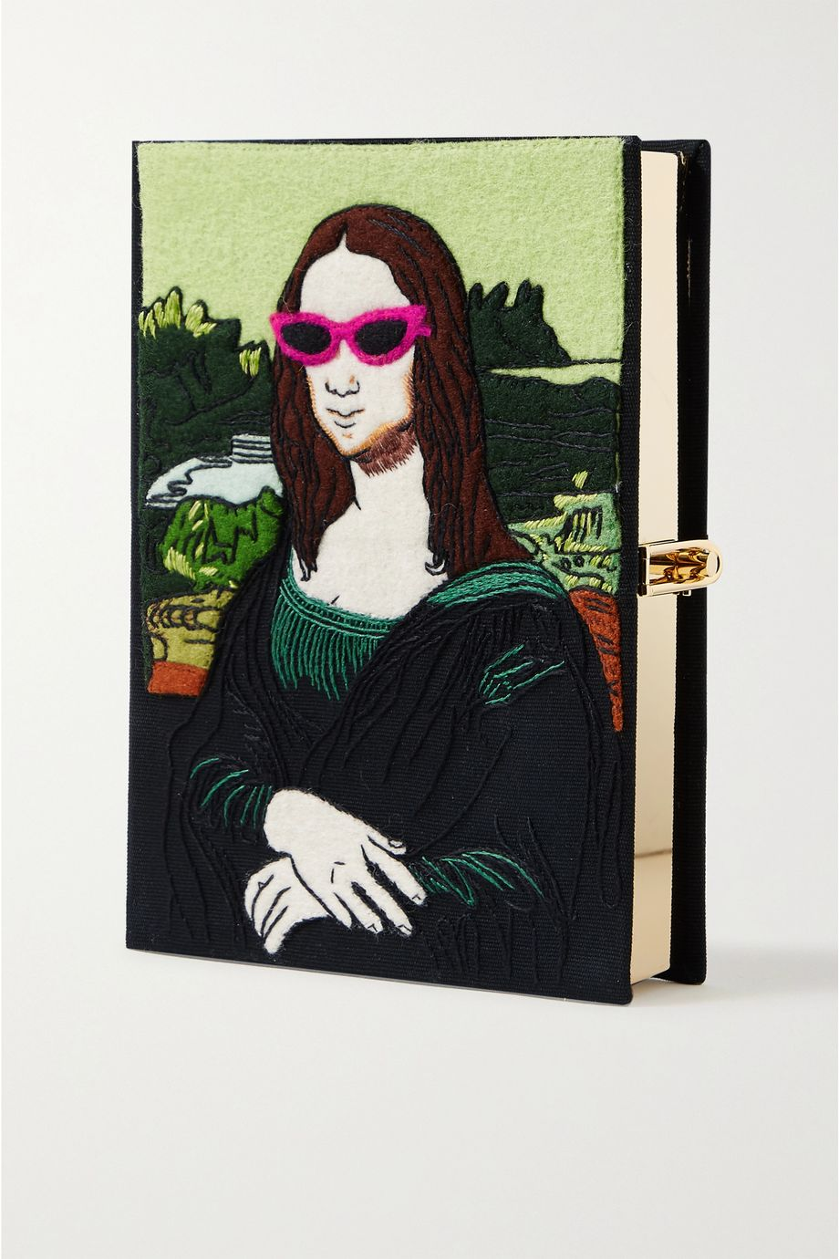 Olympia Le-Tan Mona Lisa embroidered appliquéd canvas clutch