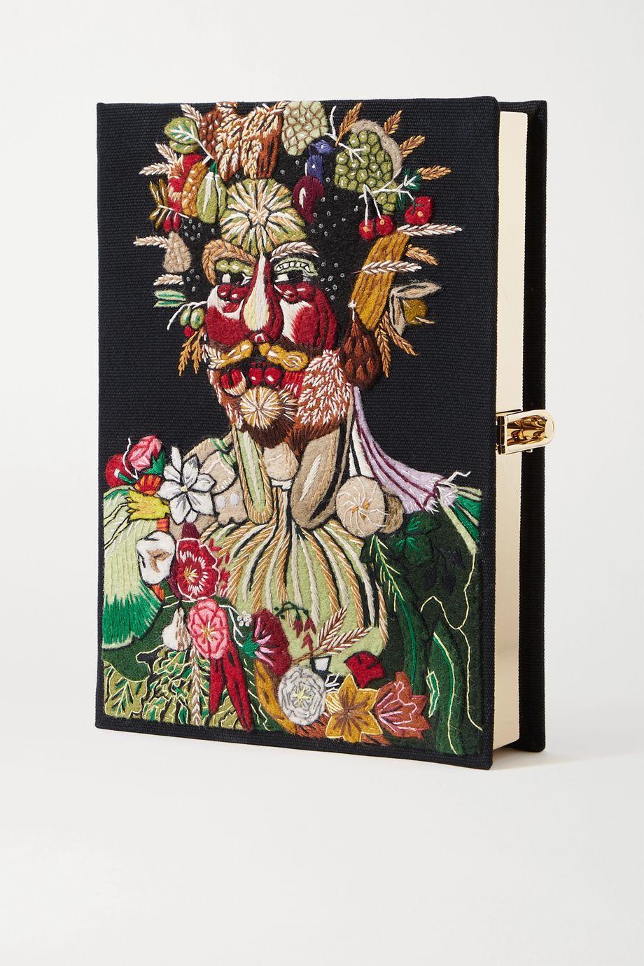 Olympia Le-Tan Arcimboldo embroidered appliquéd canvas clutch
