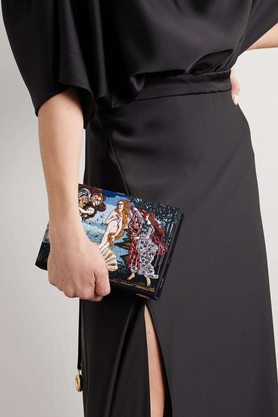 Olympia Le-Tan Venus Clutch aus Canvas mit Applikationen und Stickereien