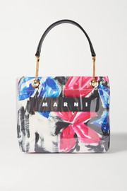 Marni Glossy Grip leather-trimmed floral-print coated-canvas tote