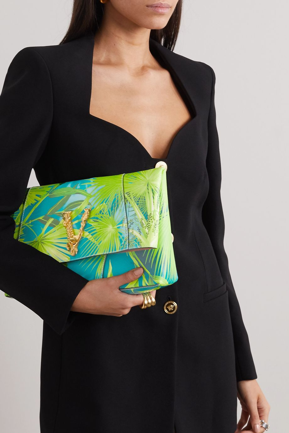 Versace Jungle large embellished printed leather clutch