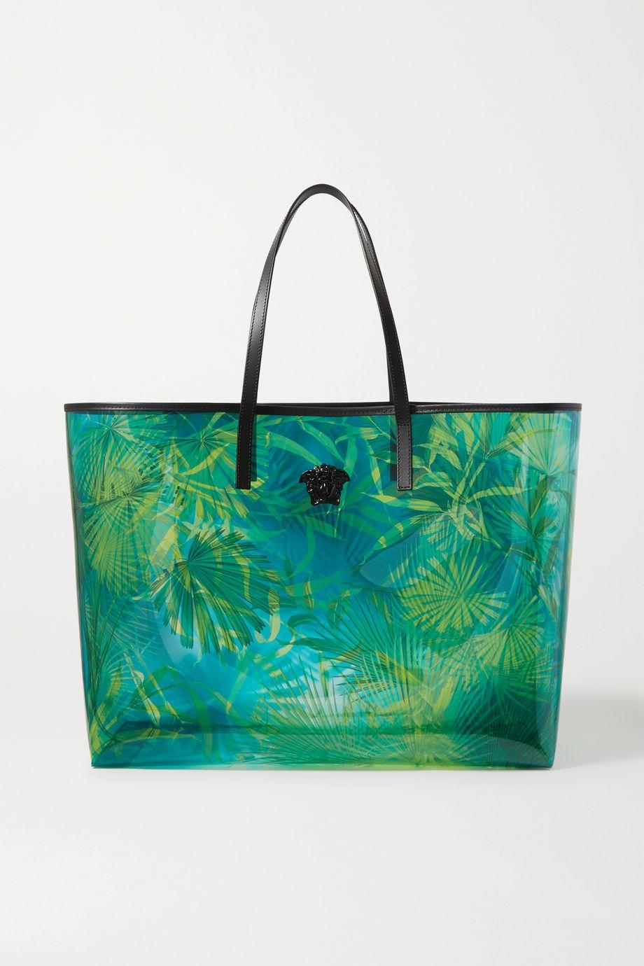 Versace Jungle embellished printed PVC tote