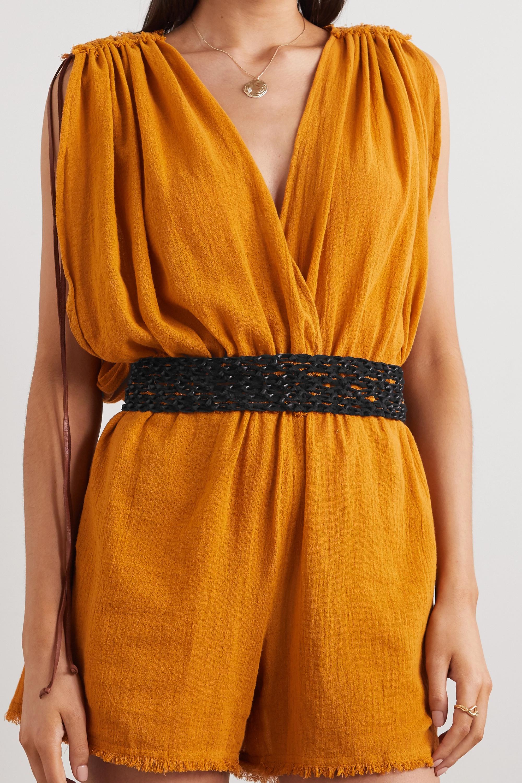 Caravana + NET SUSTAIN Venus fringed woven leather waist belt