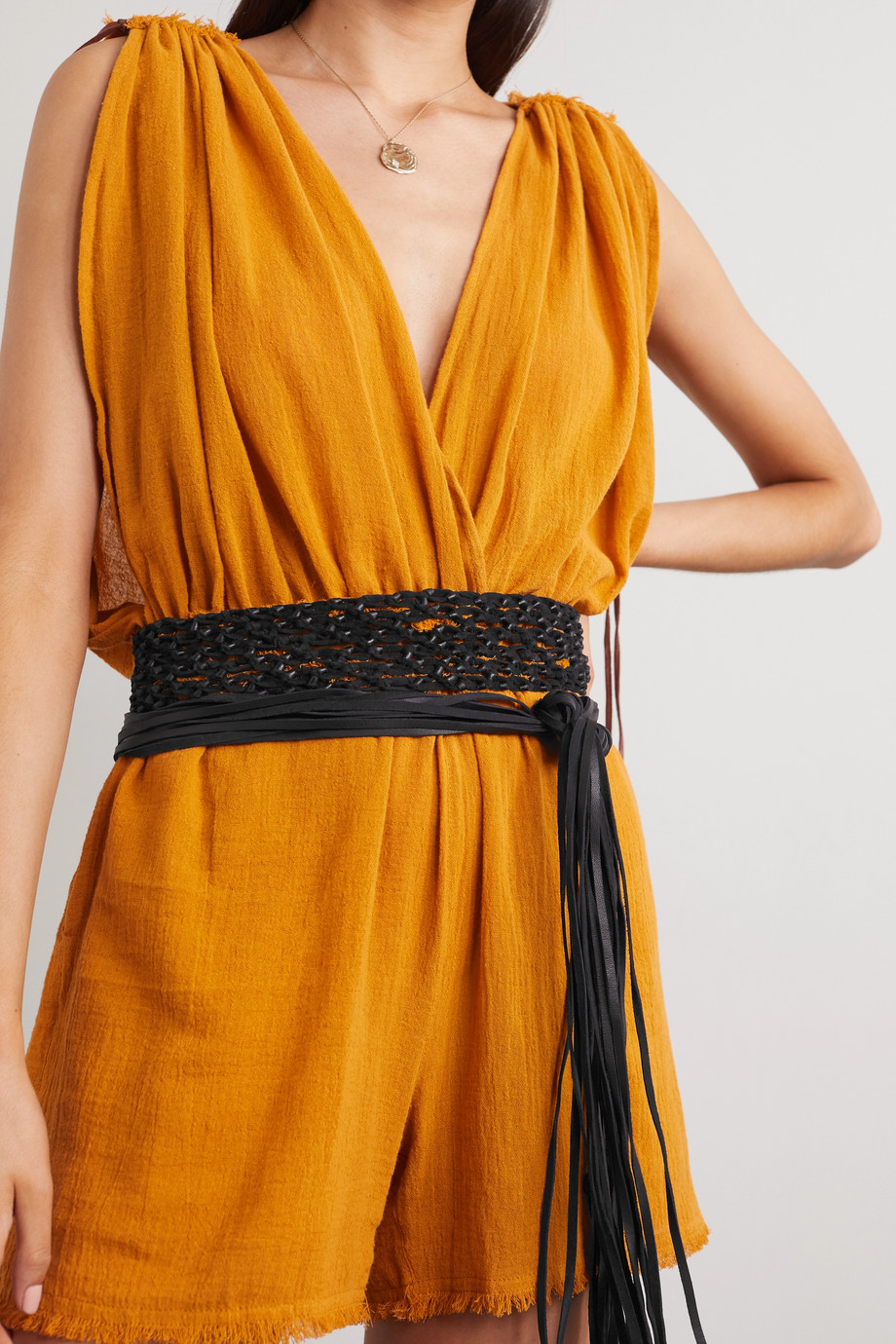 Caravana + NET SUSTAIN Venus fringed woven leather waist belt