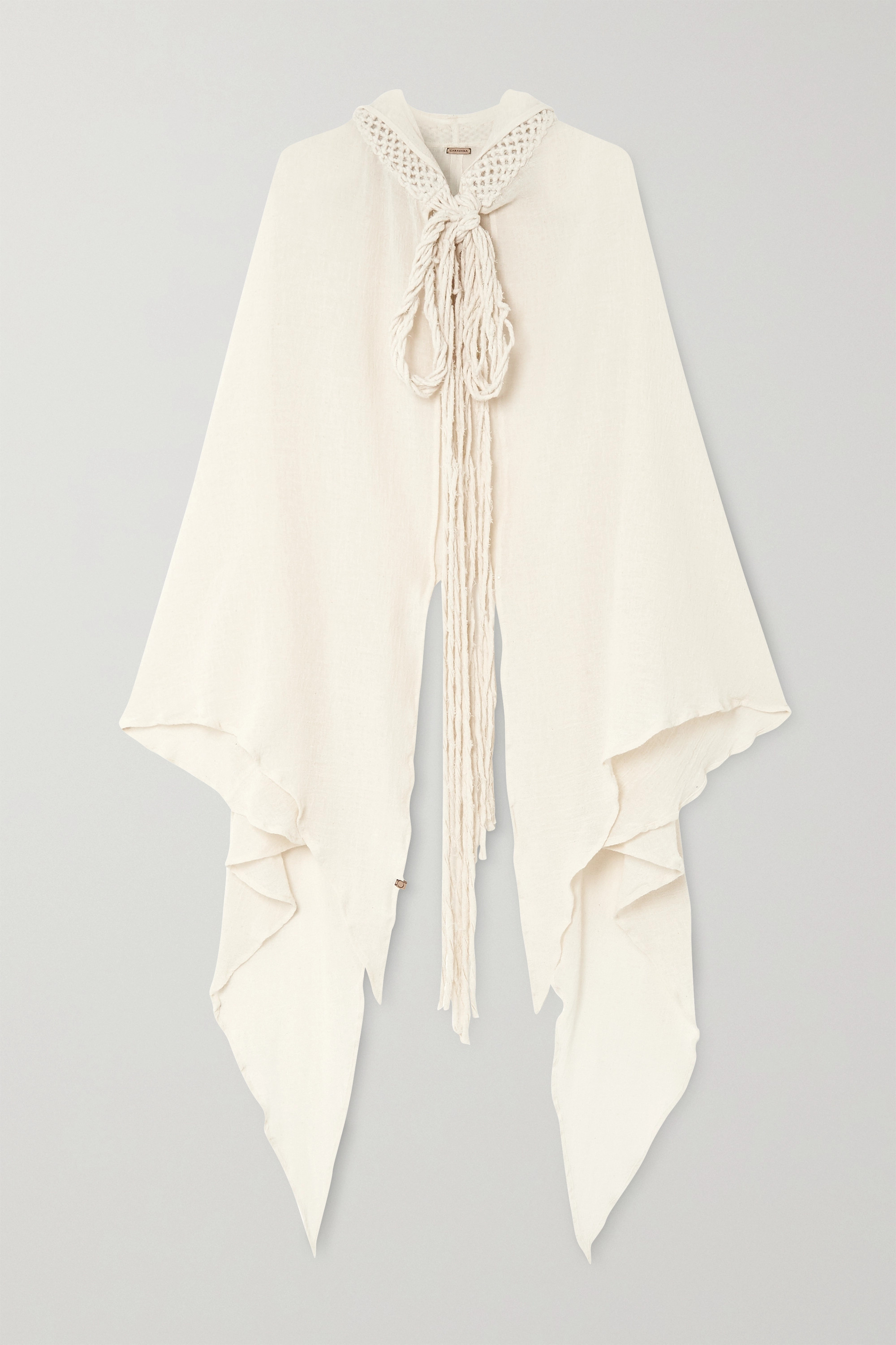 Caravana + NET SUSTAIN Kaanche tasseled cotton-gauze hooded cape
