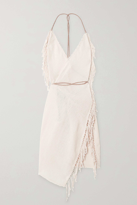 Caravana + NET SUSTAIN Misol open-back leather-trimmed fringed cotton-jute dress