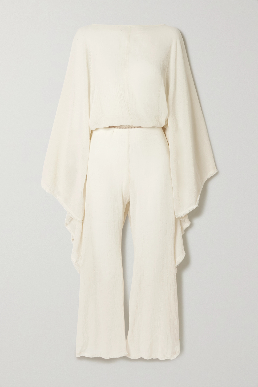 Caravana + NET SUSTAIN open-back leather-trimmed cotton-gauze jumpsuit