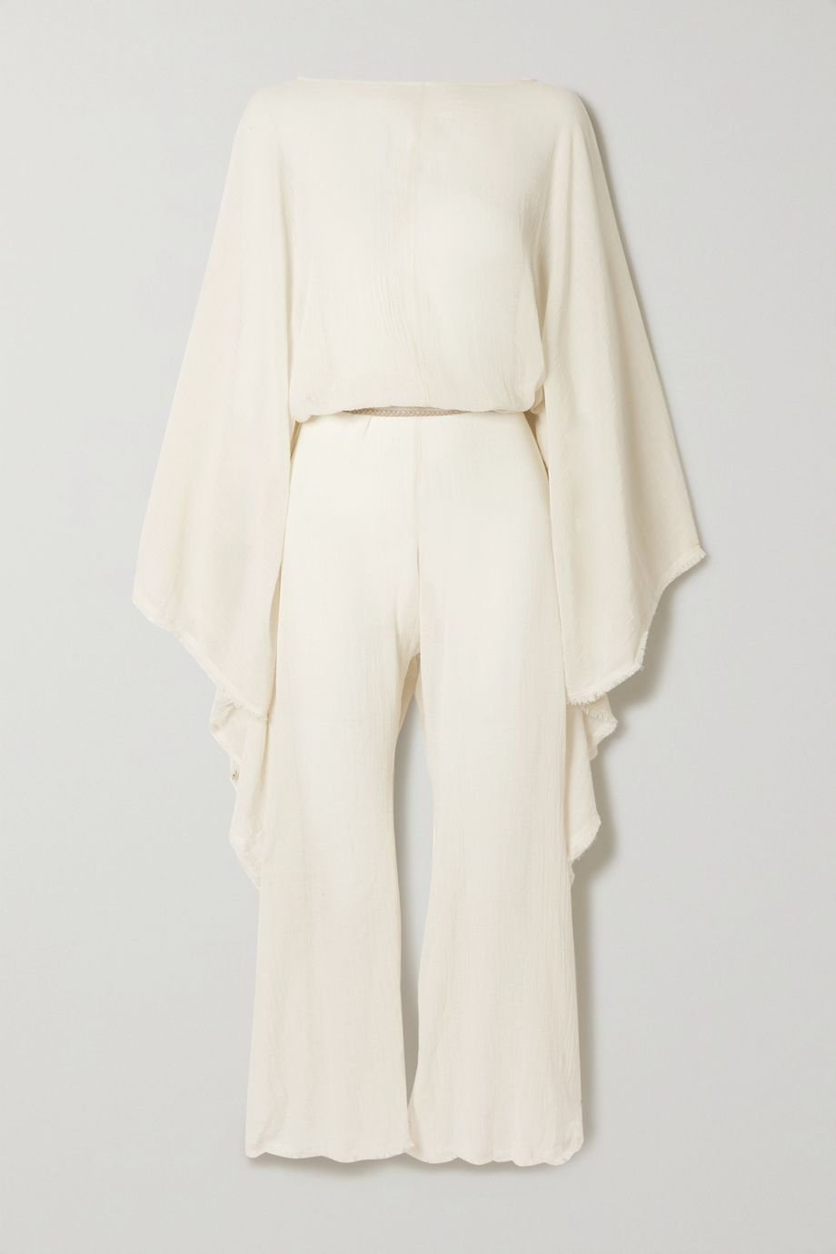 Caravana + NET SUSTAIN open-back leather-trimmed cotton-gauze jumpsuit