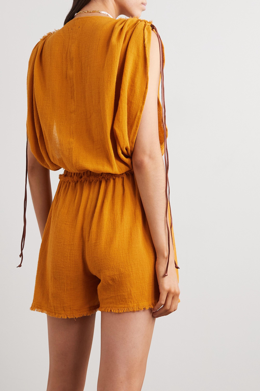Caravana + NET SUSTAIN Kaayche leather-trimmed frayed cotton-gauze playsuit