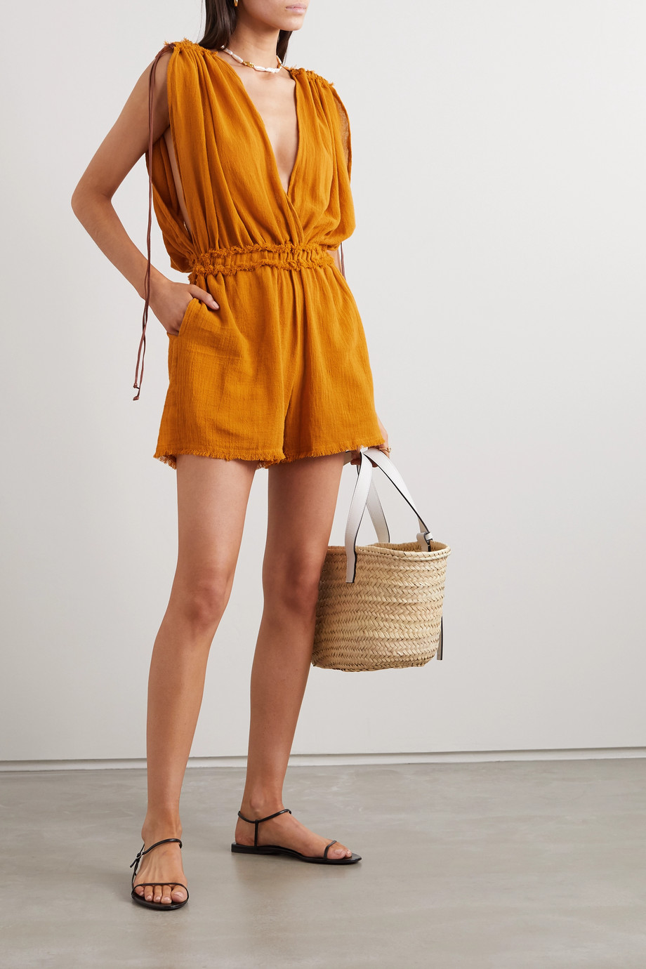 Caravana + NET SUSTAIN Kaayche leather-trimmed frayed cotton-gauze playsuit