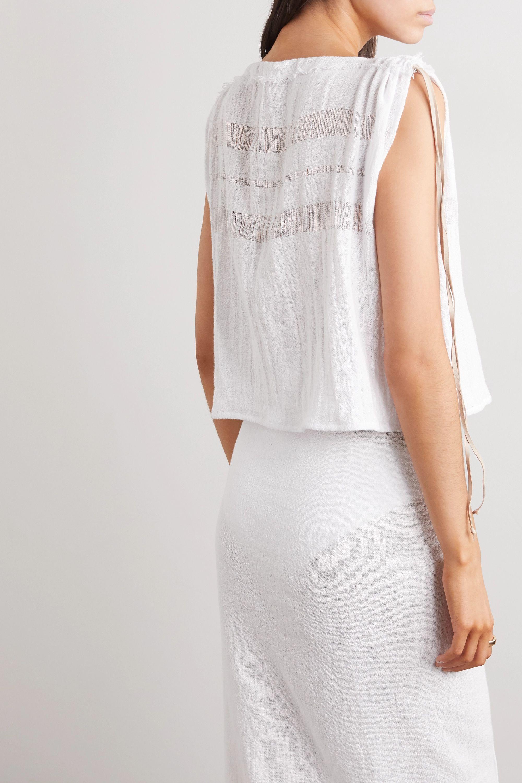 Caravana + NET SUSTAIN Chunox suede-trimmed cotton-gauze top