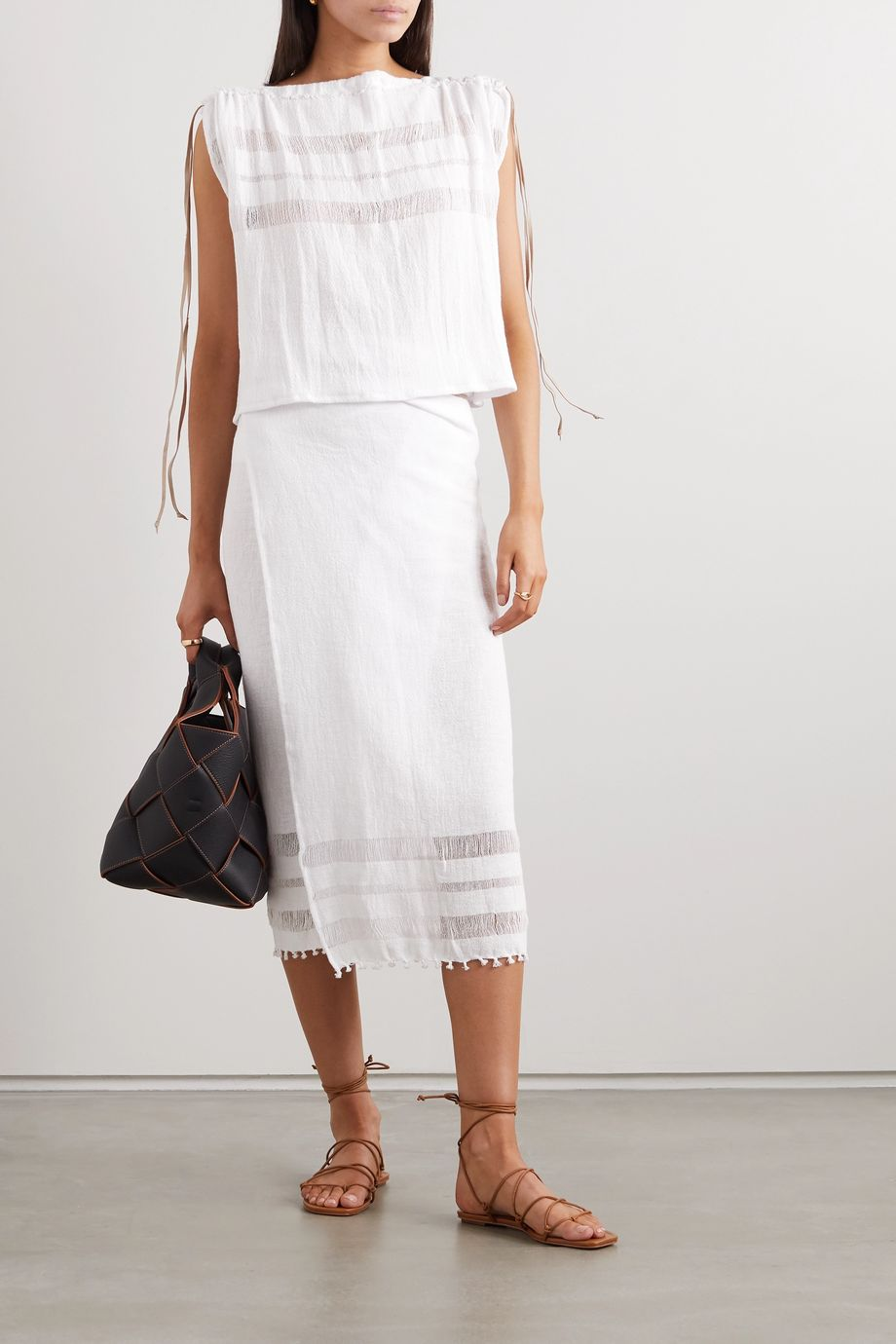 Caravana + NET SUSTAIN suede-trimmed cotton-gauze pareo
