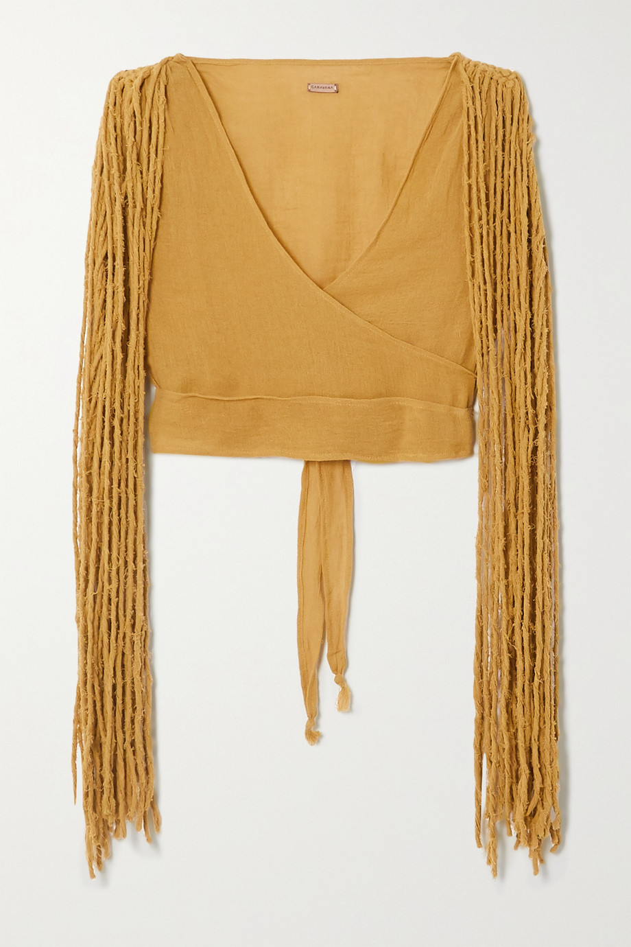 Caravana + NET SUSTAIN Yaxa fringed cotton-gauze top