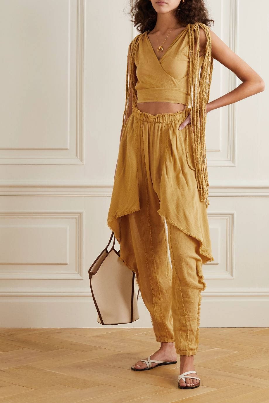 Caravana + NET SUSTAIN Baaxal draped frayed cotton-gauze pants