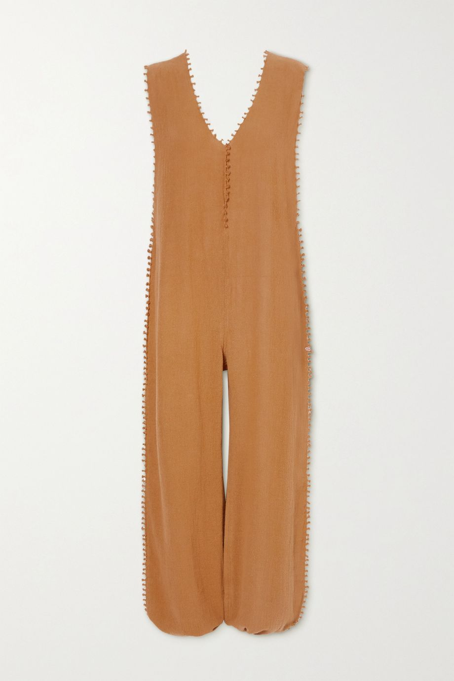 Caravana + NET SUSTAIN Oxku fringed cotton-gauze jumpsuit