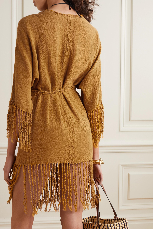 Caravana + NET SUSTAIN Tsuuy fringed cotton-gauze dress