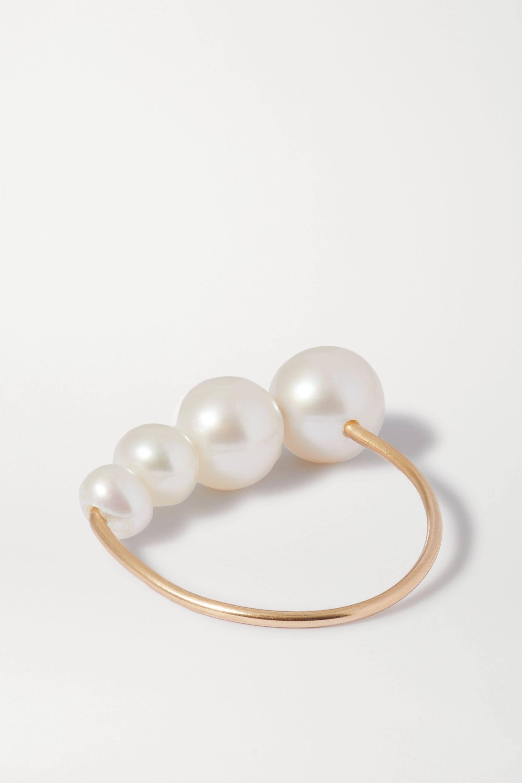 Saskia Diez + NET SUSTAIN Drop gold pearl ring