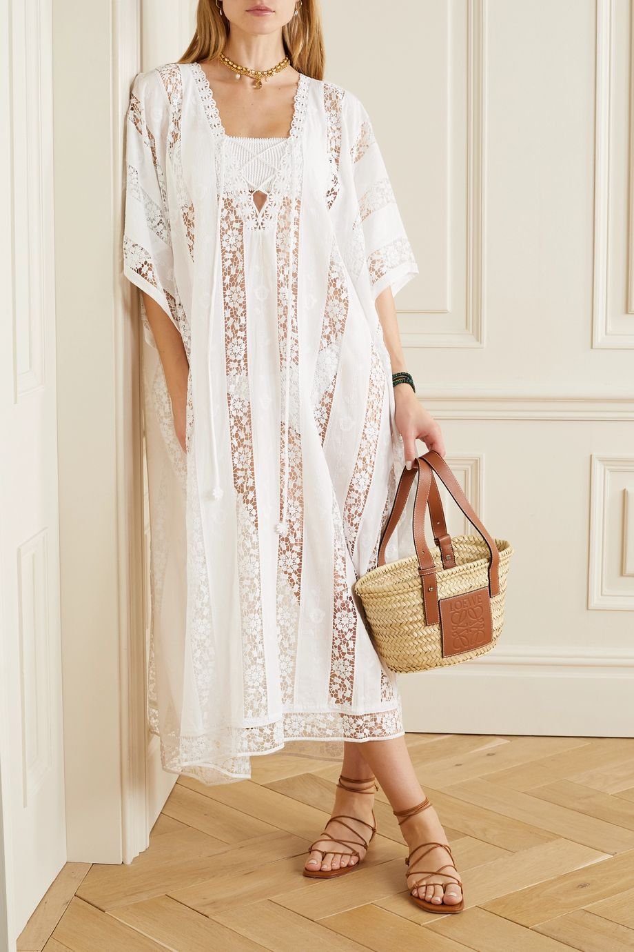 Miguelina Blair crochet-trimmed embroidered cotton-voile kaftan