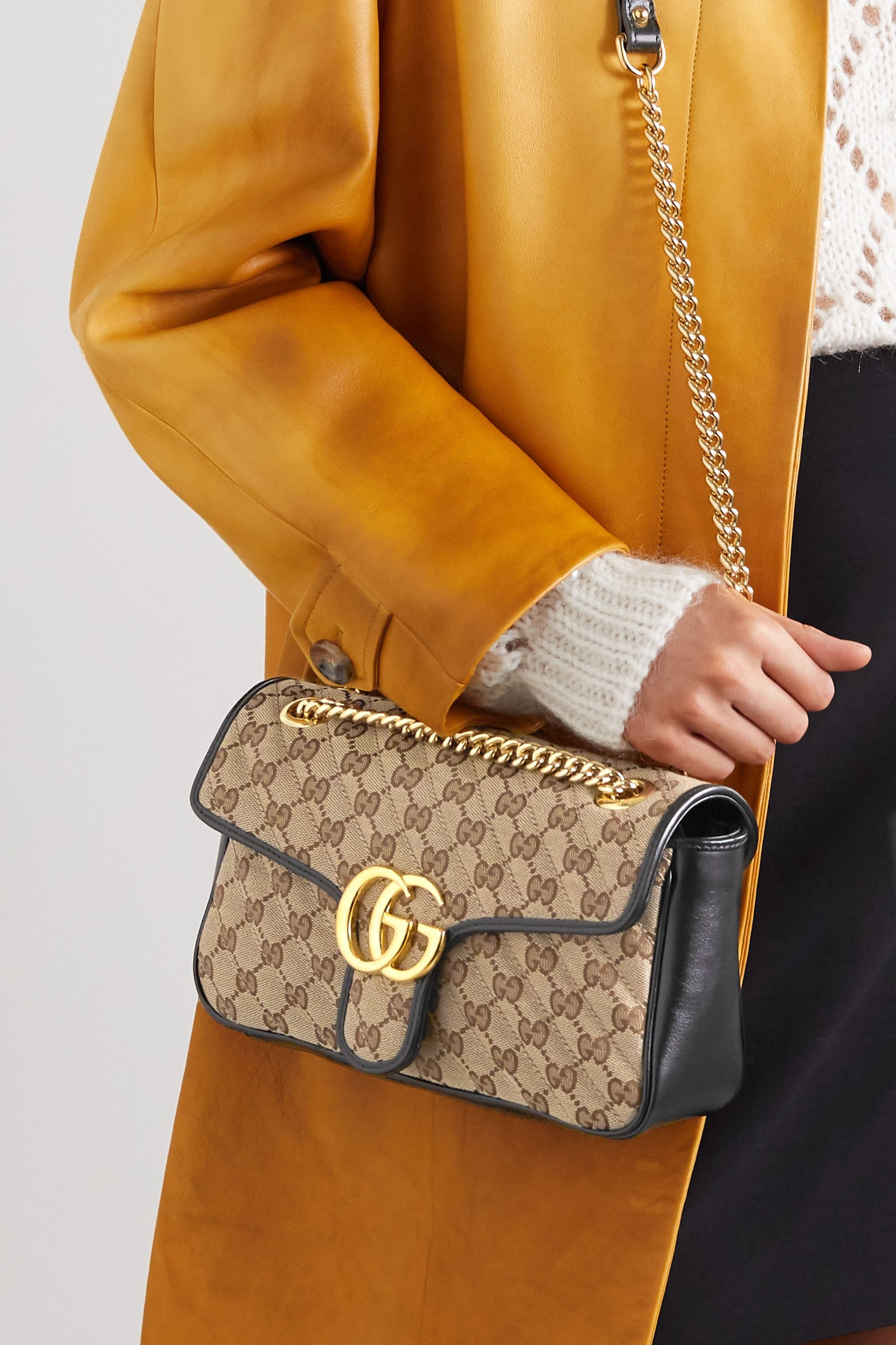 Gucci GG Marmont small leather-trimmed quilted printed coated-canvas shoulder bag