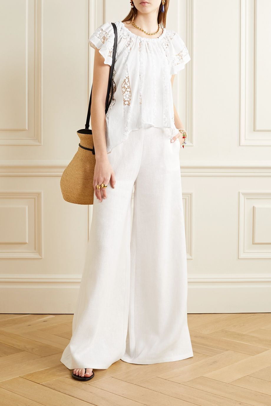 Miguelina Marisol crochet-trimmed embroidered cotton-voile top