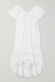 Miguelina Danica crochet-paneled embroidered cotton-voile dress