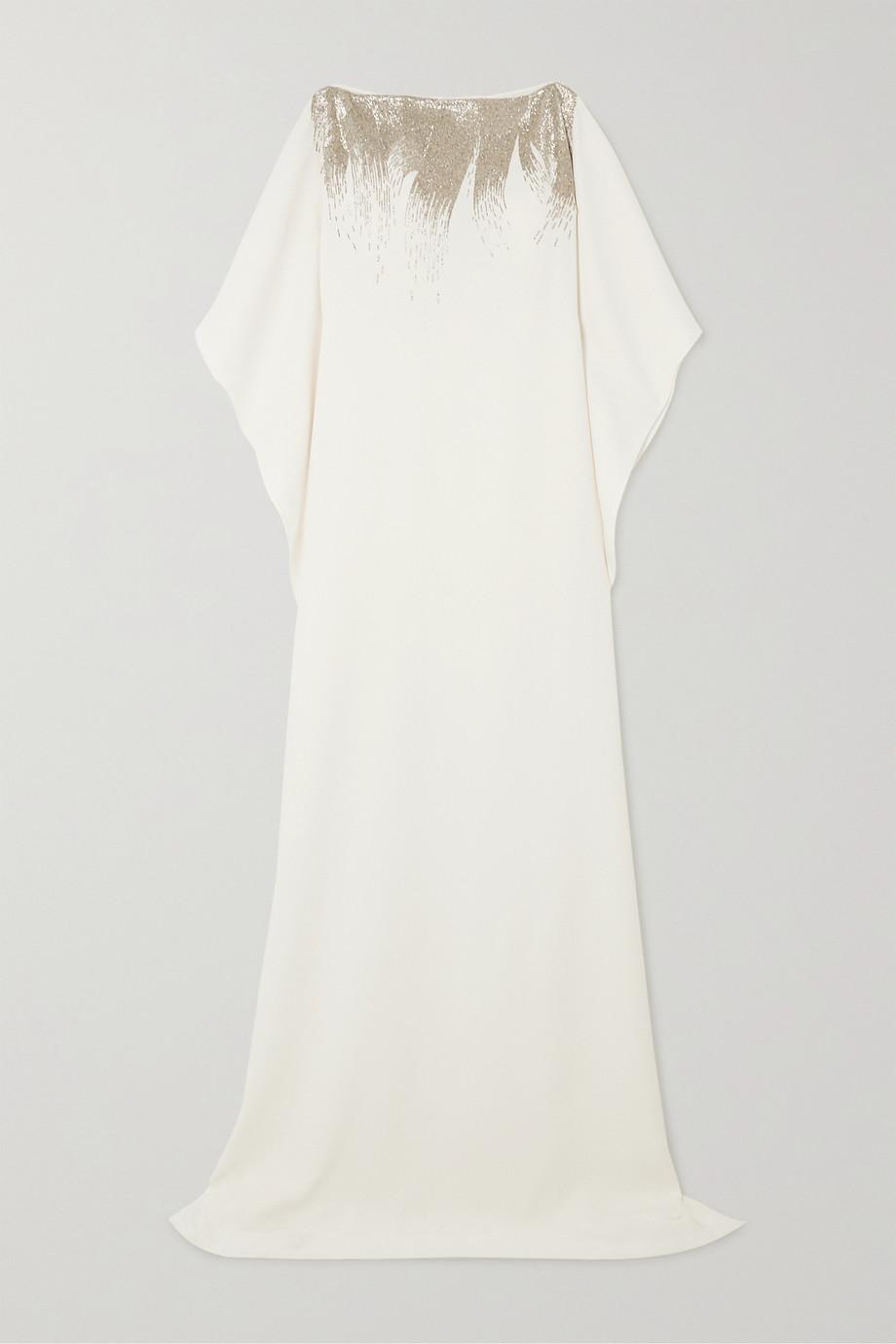 Oscar de la Renta Bead-embellished silk-blend gown