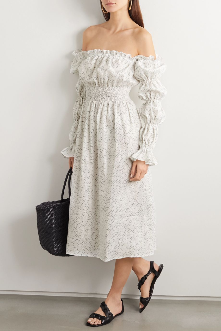 Sleeper Michelin off-the-shoulder shirred polka-dot linen midi dress
