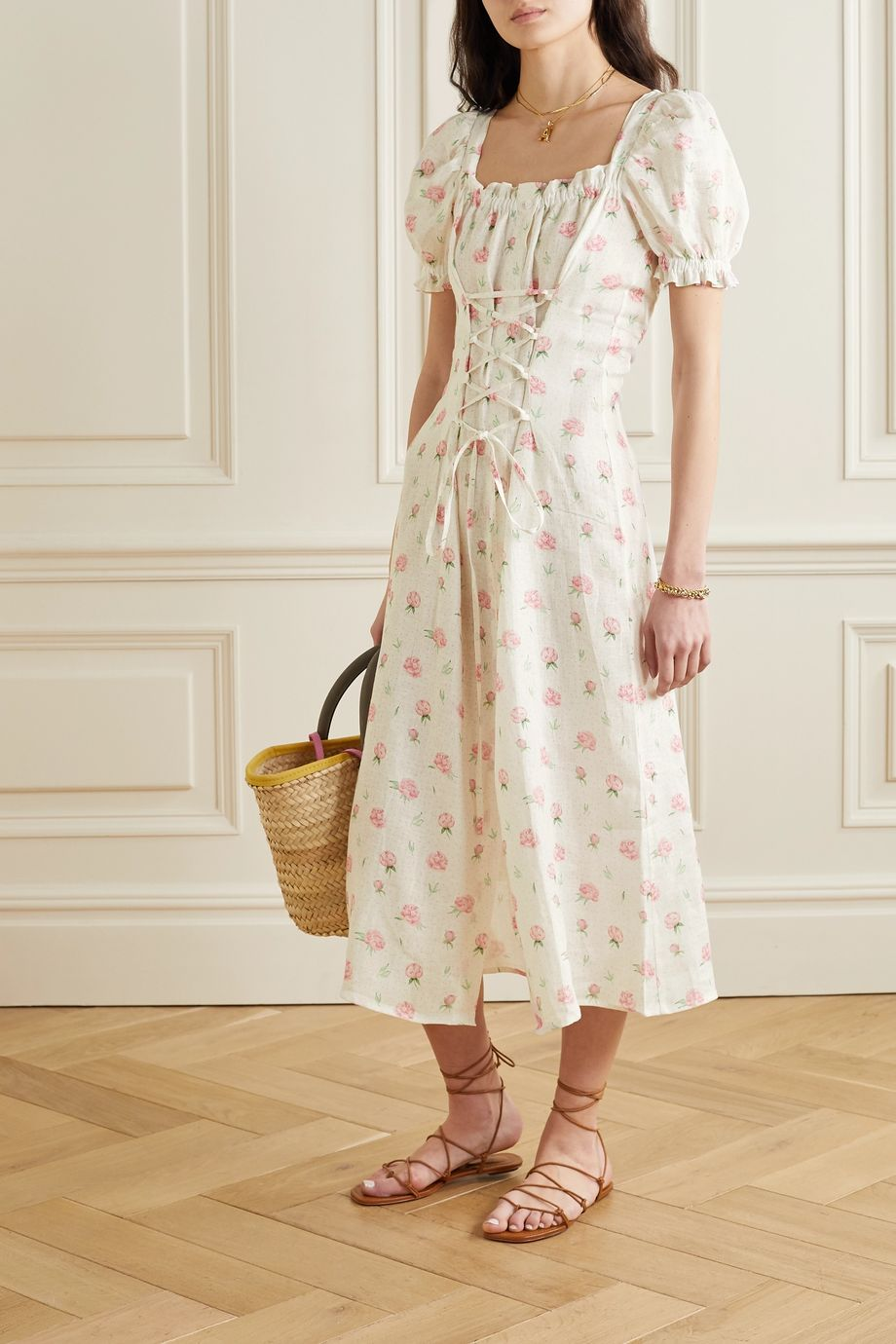 Sleeper Marquise lace-up floral-print linen midi dress
